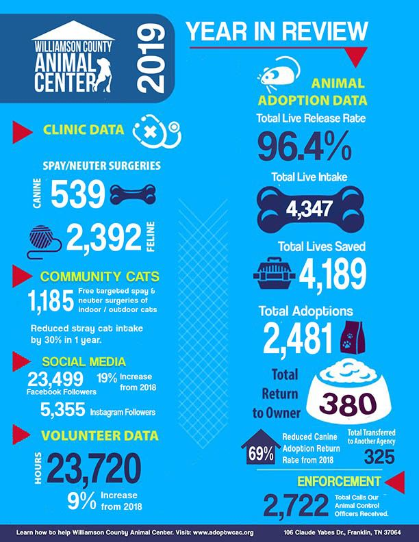 Infographic for stats for 2019 WCAC YEAR in REVIEW
